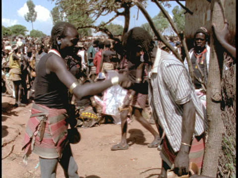 Ethiopian men greet each other with traditional... Stock Video Footage