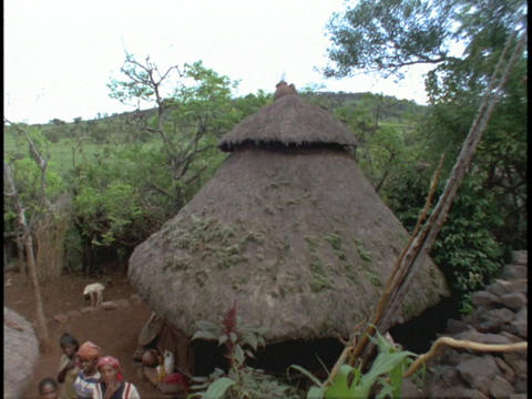 Cone-shaped roofs top houses in a small African village Stock Video Footage