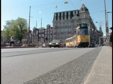 A trolley passes through Amsterdam Street in Holland Footage