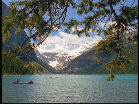 Mountains surround Lake Louise Footage