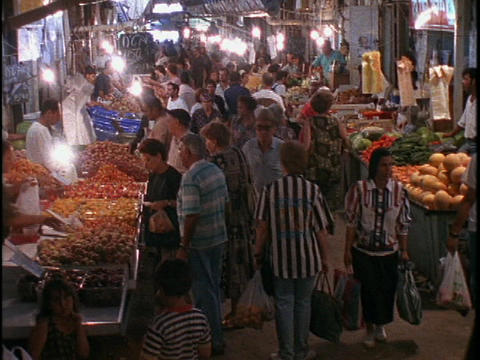 Crowds of shoppers fill the marketplace in Old City... Stock Video Footage
