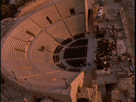 An ancient Roman Coliseum sits in the city of Caesarea Footage