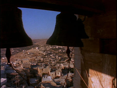 Large bells in a tower overlook the Holy land Footage