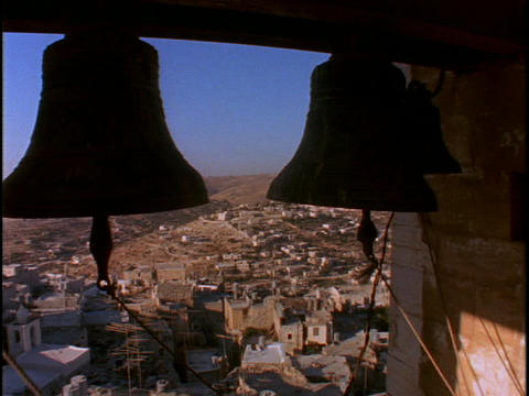 Large bells in a tower overlook the Holy land Stock Video Footage