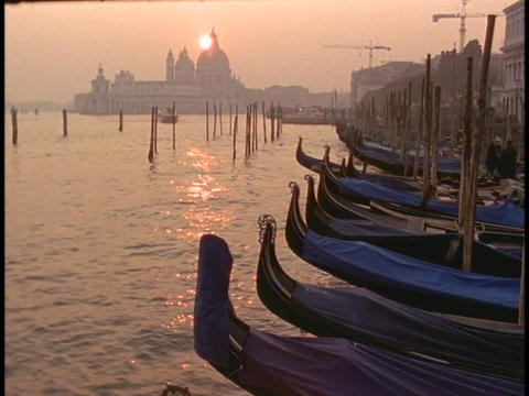 Gondolas lie moored in a Venice harbor Footage