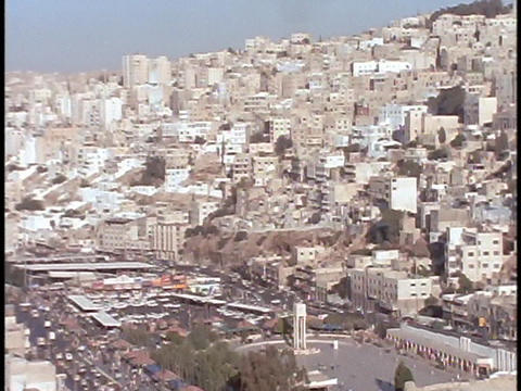 Buildings in downtown Amman, Jordan, cover the hillside Stock Video Footage