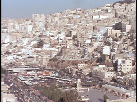 Buildings in downtown Amman, Jordan, cover the hillside Footage