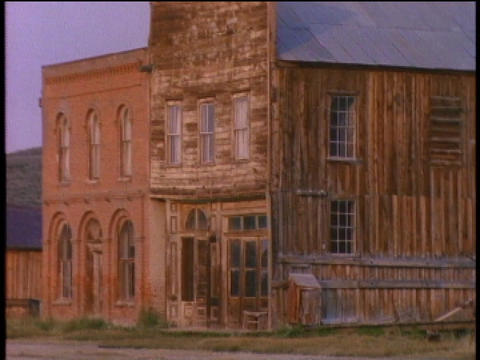 A deserted saloon stands in the ghost town of Bodie Footage