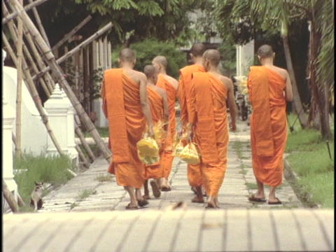 Buddhist monks slowly stroll through the monastery Stock Video Footage