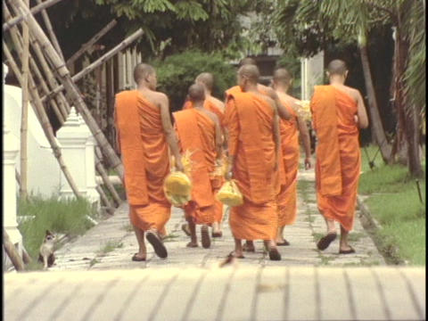 Buddhist monks slowly stroll through the monastery Stock Video Footage