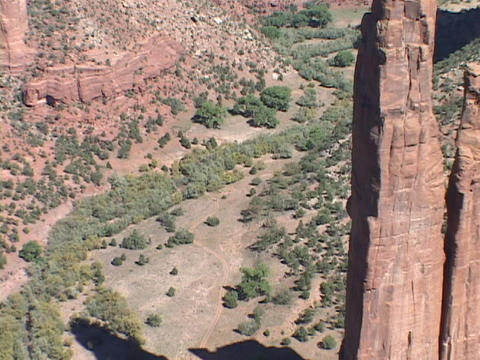 A giant spire juts up in the Canyon de Chelly in New Mexico Footage