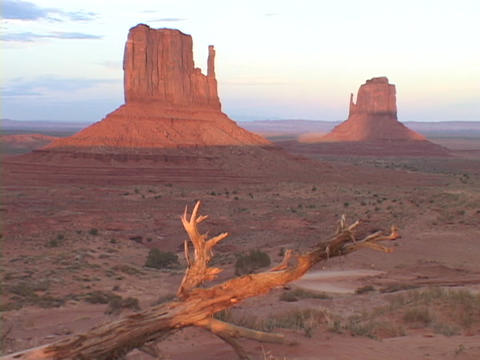 The Mitten Buttes stand tall in the desert Footage
