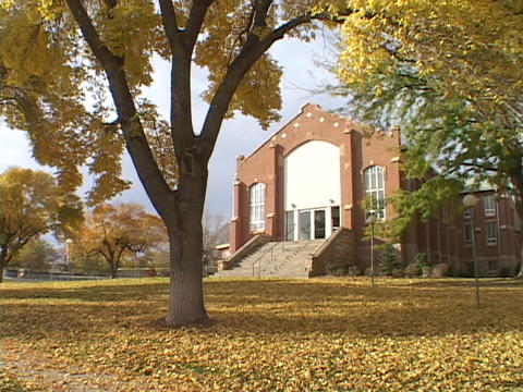 Autumn leaves blanket the lawn of a country school Stock Video Footage
