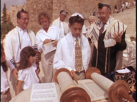 A young man participates in his Bar Mitzvah Stock Video Footage