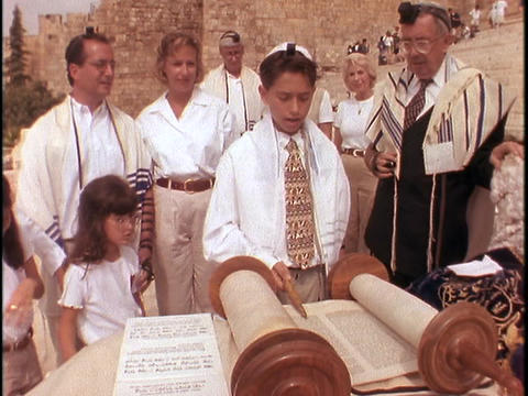 A young man participates in his Bar Mitzvah Footage