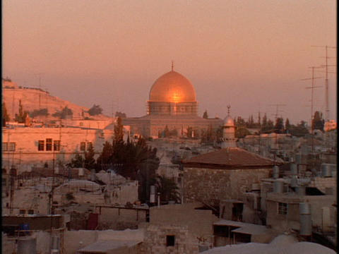 The Dome of the Rock rises above the skyline of Jerusalem Stock Video Footage