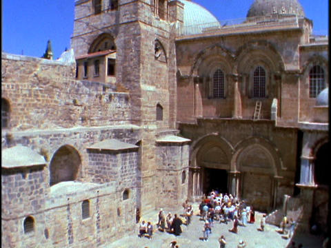 Pilgrims visit the Church of the Holy Sepulchre in Jerusalem Footage
