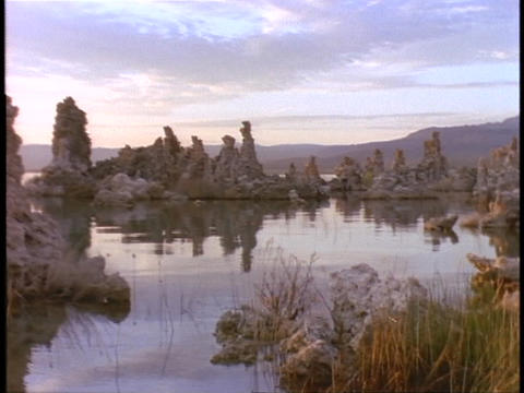 Tufa towers rise over the calm water of Mono Lake,... Stock Video Footage