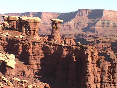 Rock formations rise up in Canyonlands National Park, Utah Stock Video Footage