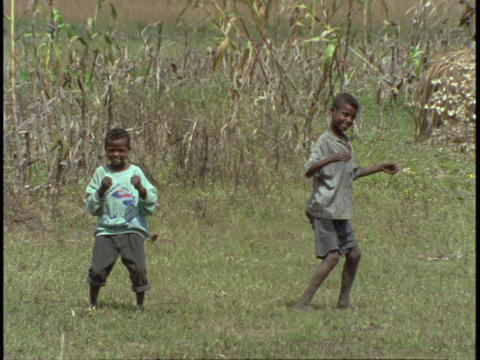 boys dance in a grassy field Footage