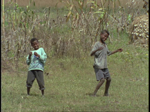boys dance in a grassy field Stock Video Footage