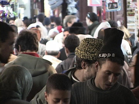 A crowds presses through Fez, Morocco Footage