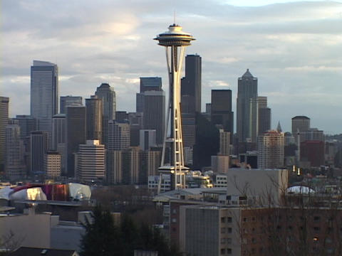 The Space Needle rises above the Seattle city skyline in Washington Footage