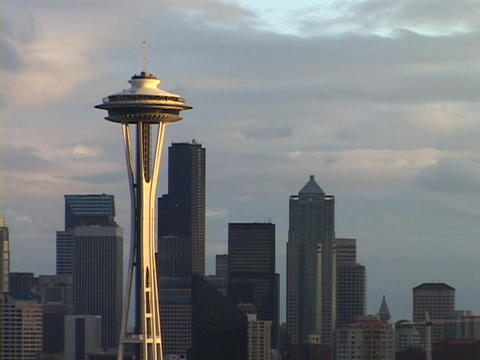 The Space Needle rises above the Seattle skyline in Washington Footage