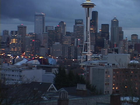 The Space Needle stands out on the Seattle skyline Stock Video Footage