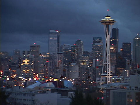 The Space Needle stands out on the Seattle skyline Footage