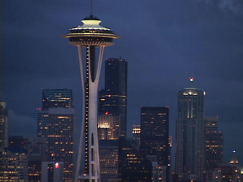 The Space Needle stands out on the Seattle skyline Live Action
