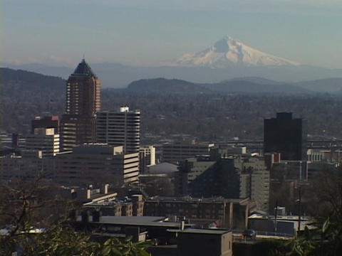 Mount Hood stands behind the Portland skyline Footage