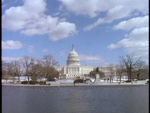 The United States Capitol building rests along the... Stock Video Footage