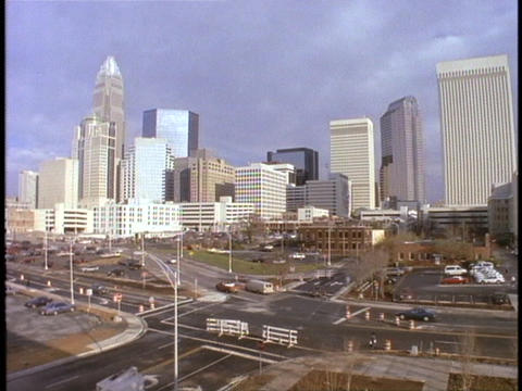 Skyscrapers fill Charlotte North Carolina's skyline Footage
