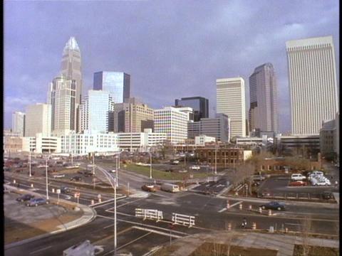 Skyscrapers fill Charlotte North Carolina's skyline Footage