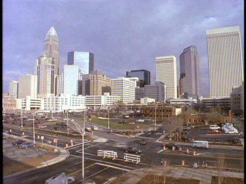 Skyscrapers fill Charlotte North Carolina's skyline Stock Video Footage