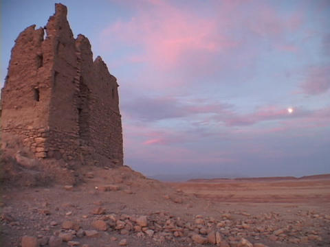 A carved stone building rises above the desert Live Action
