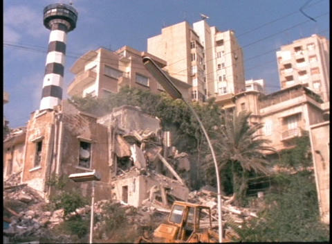 Bombed-out buildings stand in urban Beirut Stock Video Footage