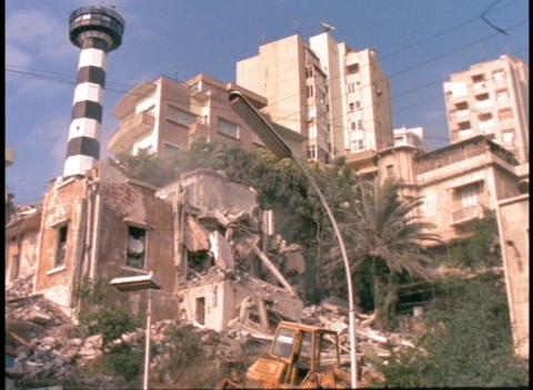 Bombed-out buildings stand in urban Beirut Footage