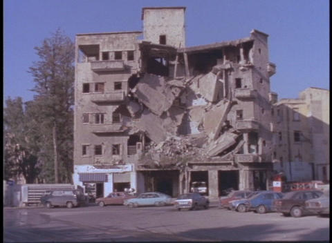 A bombed out building stands in Beirut, Lebanon Stock Video Footage