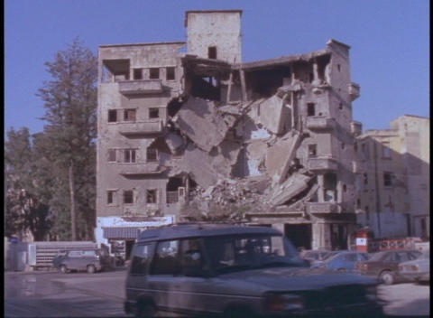 A bombed out building stands in Beirut, Lebanon Footage