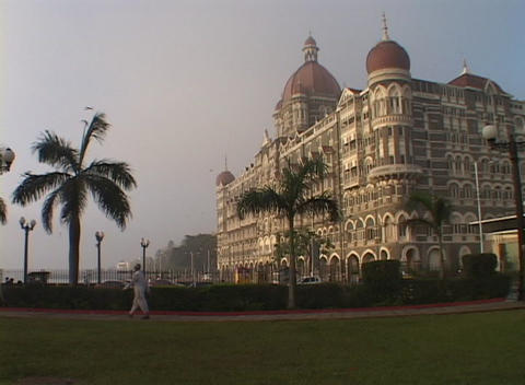The exterior of the Taj Mahal Hotel in Bombay, India Stock Video Footage