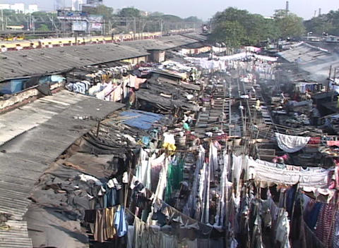 A pan across the dhobi gnats, open air laundries, in Bombay India Footage