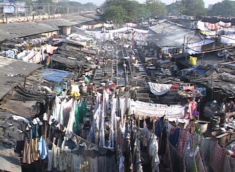 A pan across the dhobi gnats, open air laundries, in... Stock Video Footage