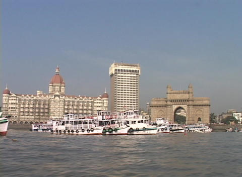 A point of view from a small boat entering the harbor in... Stock Video Footage