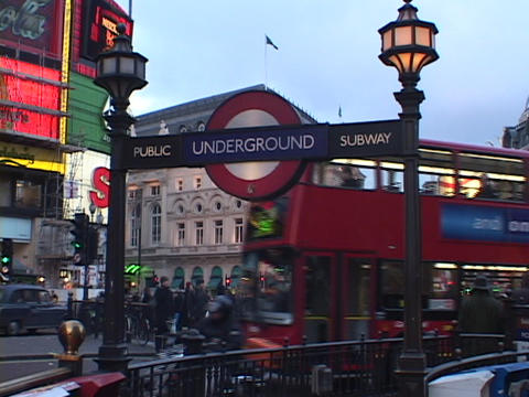 Double decker buses pass by Piccadilly and the... Stock Video Footage