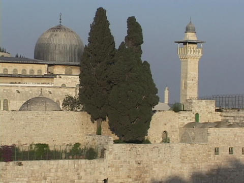 The Al Aksa Mosque and Dome of The Rock stand in Jerusalem, Israel Footage