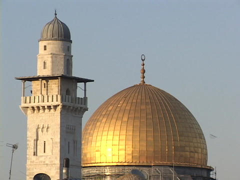 The Dome of the Rock tops a mosque in Jerusalem Stock Video Footage