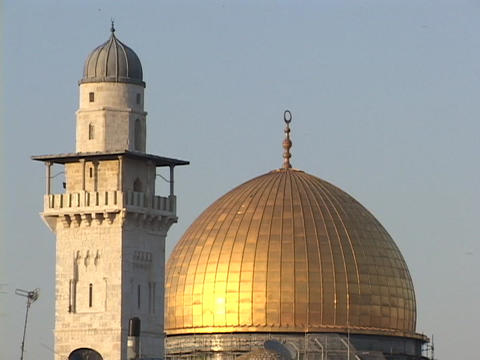 The Dome of the Rock tops a mosque in Jerusalem Footage