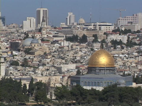Jerusalem stretches to the horizon, with the Dome of the... Stock Video Footage